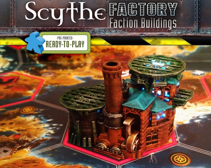 Featured listing image: Scythe the Board Game Illuminated Factory Upgrade 3D Printed Model