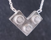 L is for Love Heart Sterling Silver Necklace, Block Necklace, Geometric Jewelry, Toy Necklace, Building Block Jewelry, Nerd Necklace, LEGO