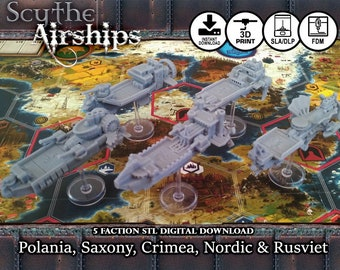 Scythe Airships Wind Gambit Upgrade DIGITAL STL DOWNLOAD Board Game Pieces, Nordic, Crimean, Rusviet, Polonia, Saxony, Boardgame, Game Night