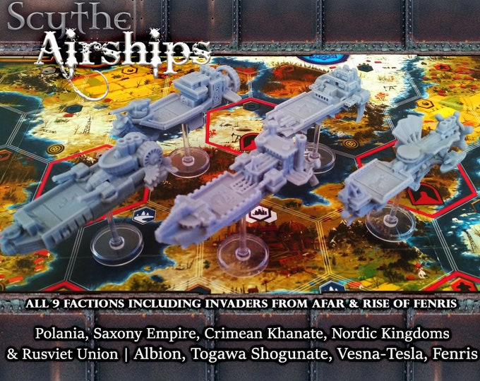 Featured listing image: Scythe Airships : Wind Gambit Expansion 9 Faction Upgrade | Board Game Pieces, Boardgame Night, Stonemaier Games, Gamer Gifts, 3D Printed