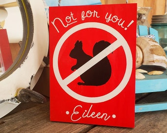 Personalised No Squirrels Allowed Garden Sign