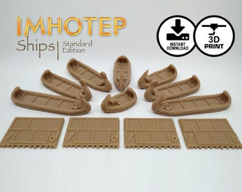 Imhotep Builder of Egypt Standard Ships 3d Printer Digital Download | STL Print, Egyptian Reed Ship, Custom Games, KOSMOS Games