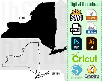 New York State Silhouette & Outline Digital Download | JPEG SVG PNG .eps .ai Vector Cricut Decal Vinyl Stencil Cutting
