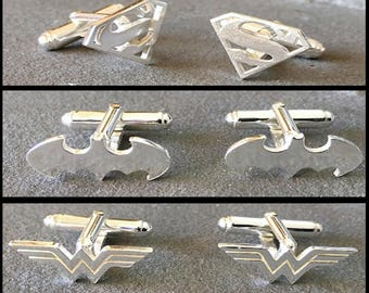 Justice League Cufflink Gift Set, Superman, Batman, Wonder Woman