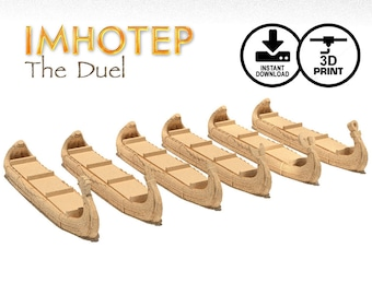 Imhotep The Duel Ships 3d Printer Digital Download | Builder of Egypt Standard, STL Print, Egyptian Reed Ship, Custom Games, KOSMOS Games