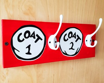 Coat 1 & Coat 2 Dr Suess Style Coat and Bag Hooks | Kids Bedroom Decor, Childrens Room Hooks, Coatrack, Cartoon Fixtures, Home Hook Storage