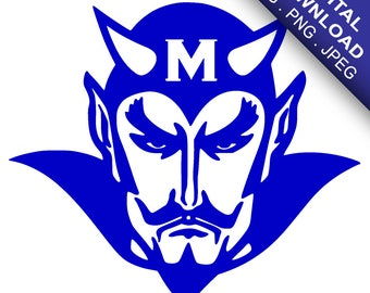 Custom 'M' Devils School Mascot Vinyl Decal | Digital Download