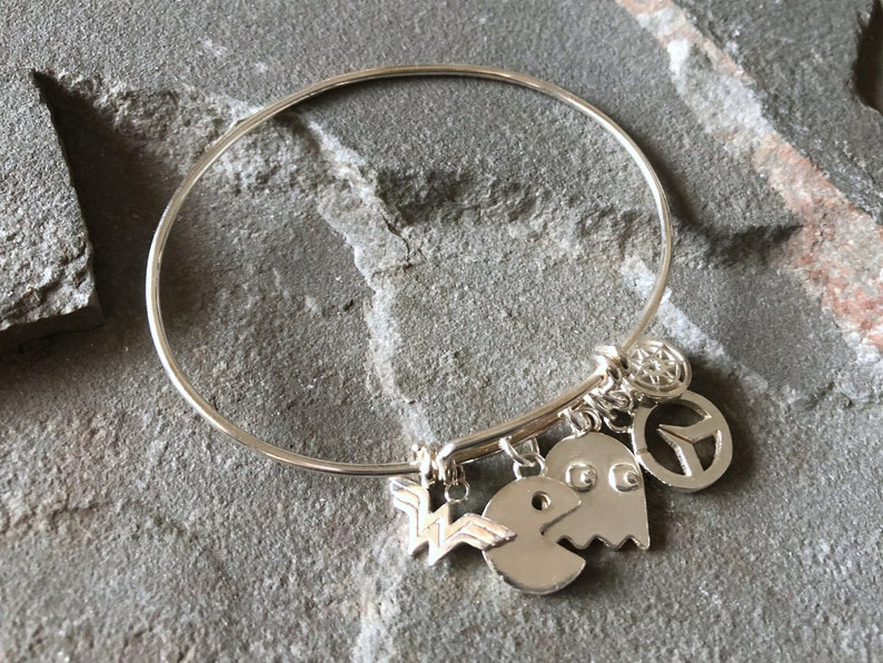 Ultimate Geek Sterling Silver Charm Bangle  Pacman image 0