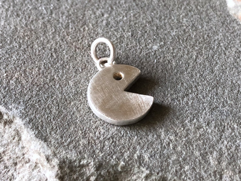 Pacman Sterling Silver CHARM Retro Gamer 80s Gamer Geeky image 0