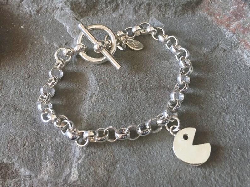 Pacman Sterling Silver Charm Bracelet Bangle Geeky Gear image 0
