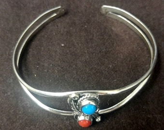 ONE Sterling Silver Cuff Bangle Bracelet with Turquoise & Red Coral Stone