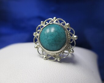 ONE BOHO Sterling Silver Turquoise Flower Ring