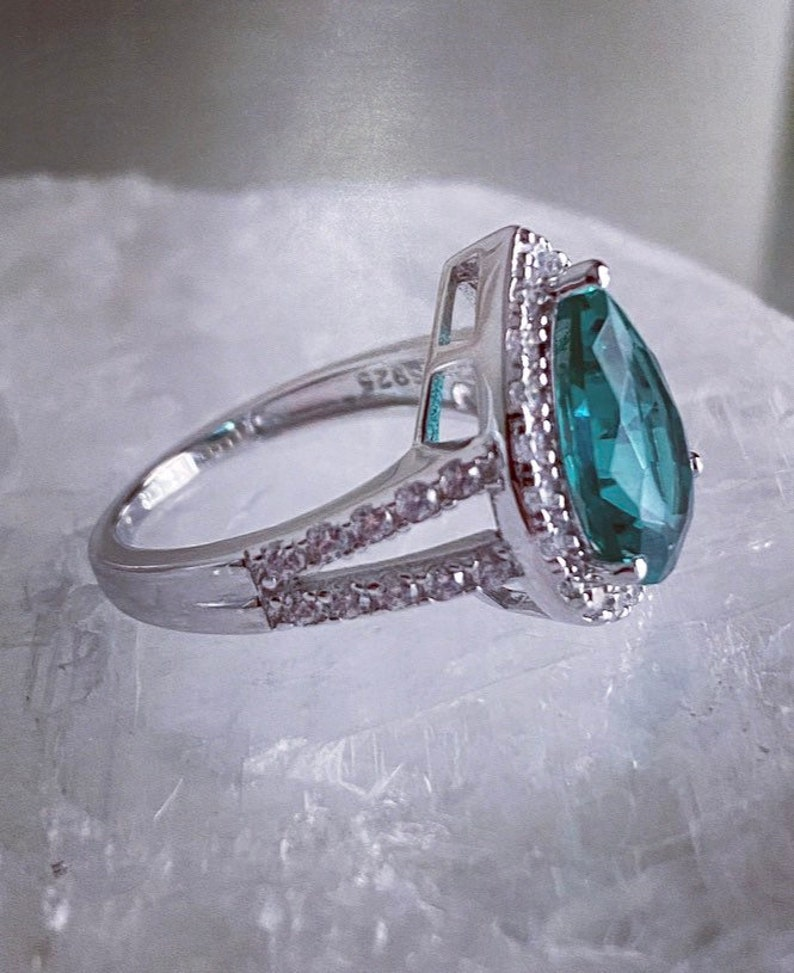 Paraiba Pear Shape Promise Ring Simulated Paraiba Green Spinel
