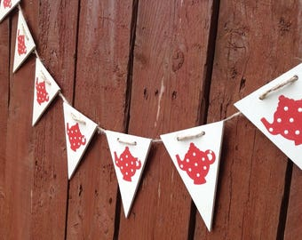 wooden bunting, teapot bunting, flag bunting, hand painted bunting, red teapots, tea party decoration, kitchen decor, wooden gift