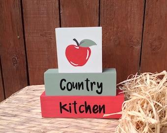 Country Kitchen, shelf decor blocks, Wooden decor blocks, quote block, shelf sitter, kitchen decor, country style decor, stacker blocks