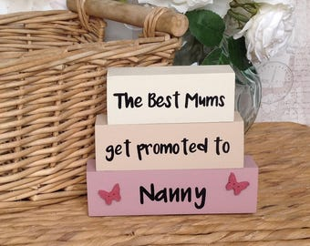 The best Mums - Wooden Shelf Decor Blocks, hand painted blocks, quote block, shelf sitter block, mothers day, grandparents day, Nanny