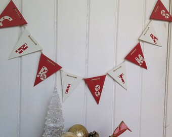 Christmas bunting, wooden bunting, flag bunting, festive garland, christmas decoration, holiday decor, christmas wall decor, mantle garland