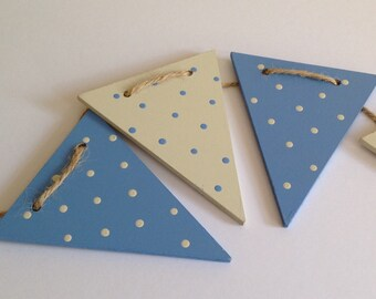 Hand painted bunting, blue polka dot bunting, wooden bunting, flag bunting, nursery bunting, baby shower gift, boys bedroom bunting