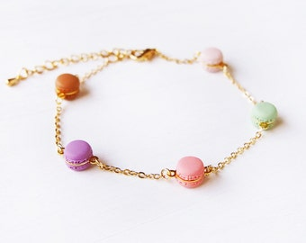 Elfi Handmade Cute Rainbow Mini Macaron Bracelet,  Miniature Dessert Food Jewelry, Wedding Gift, Christmas gifts , Kawaii, Inedible Food