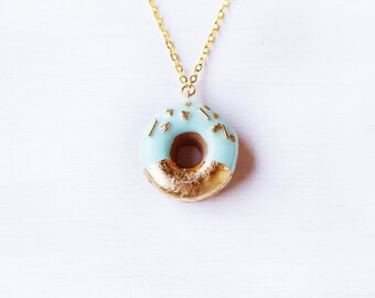 Elfi Handmade Gold and Mint Sprinkle Doughnut Necklace, Donut, Miniature Dessert Food Jewelry, Elegant, Kawaii, Donut Charm, Christmas Gift