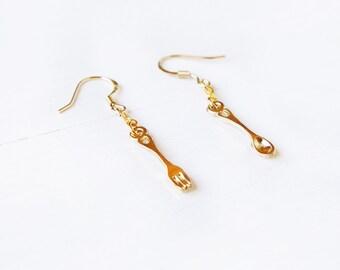 Elfi Handmade Cute Spoon Earrings, Fork Earrings, Utensil Earrings, Foodie Gift, Chef Earrings, Kitchen jewelry, Best Selling,Christmas Gift