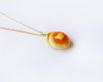 Elfi Handmade Cute Pancake Necklace, Dessert Food Jewelry, Pancake Charm, Inedible Food, Miniature Food Jewelry, Perfect for Christmas gifts