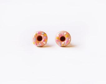 Elfi Handmade Cute Pink Sprinkle Doughnut Stud Earrings, Dessert Food Jewelry, Donut Earrings, Donut Charm, Inedible Food, Christmas gifts