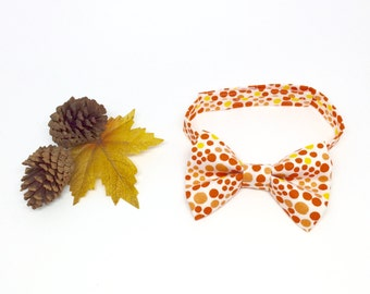 Toddler Bow Tie // Fall Bow Tie // Baby Bow Tie // Orange Polka Dots // Thanksgiving Bow Tie // Trendy Boy's Bow Tie // Autumn Accessory
