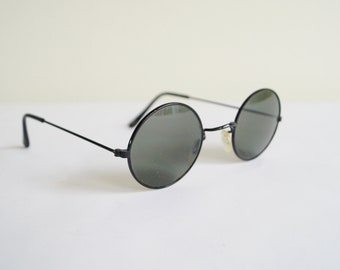 9bb83e1cb6 Round Sun Glasses with Metal Frame Made in Italy Vintage Glasses with Round  Lenses Old Sunglasses Dark Eyeglasses Shades