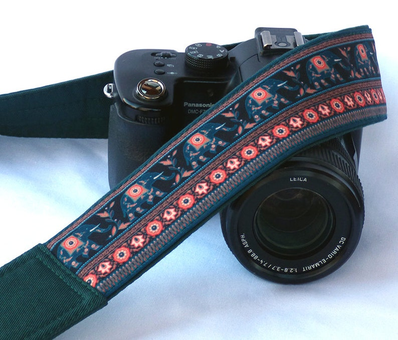 Elephants Camera Strap. Symbol of Good Luck. dSLR Camera image 0