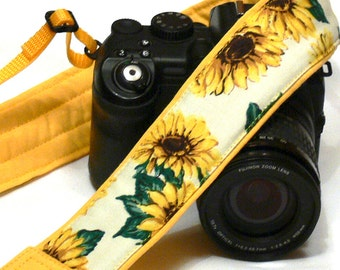 Sunflowers Camera Strap. DSLR Camera Strap. Canon Nikon Camera Strap. Yellow camera strap. Personalized Camera Strap. Camera Accessories