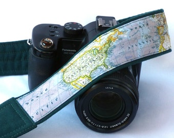 DSLR Camera Strap. World Map Camera Strap. Padded Camera Strap. North America, United States, Gift Photographer. Personalized Camera Strap.