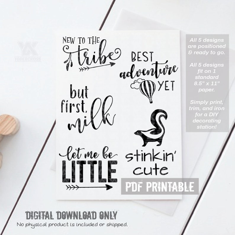 picture regarding Printable Iron on Transfers named Printable Iron Upon Transfers for Kid Shower Decorating Station - Printable PDF - Electronic Information Just (Electronic Mounted #6)