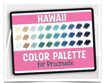Procreate Color Palette - Hawaii Color Palette for Procreate - Digital Files Only