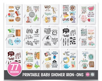 Printable Iron-Ons for Baby Shower Decorating Station - ALL 77 Designs Included - Entire Printable Collection (Bundle #1)
