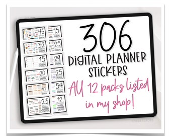 Digital Planner Stickers Bundle - Goodnotes and PNG Digital Planner Stickers - Mega Bundle of 306 Digital Stickers