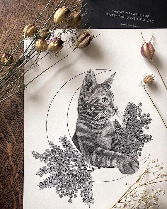 Cat and Crescent Moon - Cat Print - Tabby Print - Mimosa flower - Moon Print - Ginger cat - Kitten Print - Dotwork Illustration - A4 Print