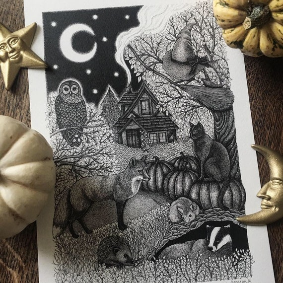 Woodland Witchy Print - Halloween Print - Woodland Animals - Storybook Print - Forest Print - Witch - Fox Print - Print for Animal Lover