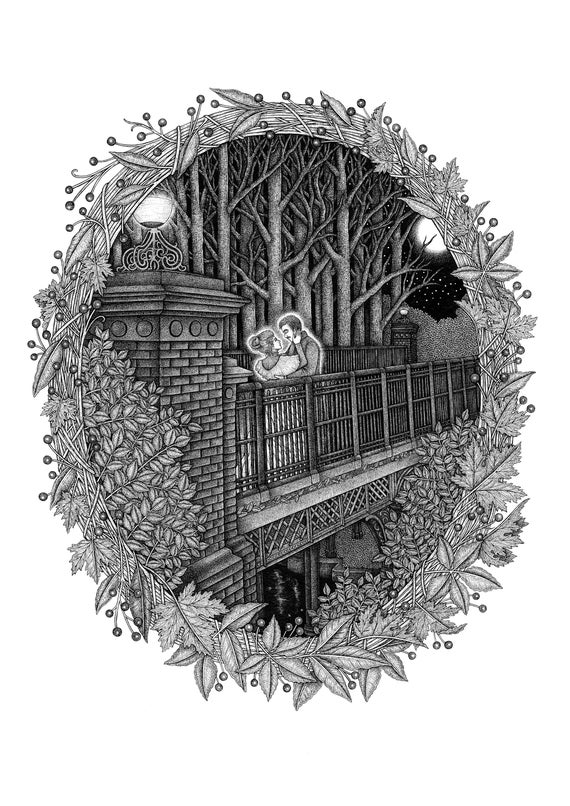 The Iron Bridge - Giclee Print - Romantic Illustration - Ghost Story - Liverpool Art - Sefton Park - Fairy Glen - Love Story - A3 Print
