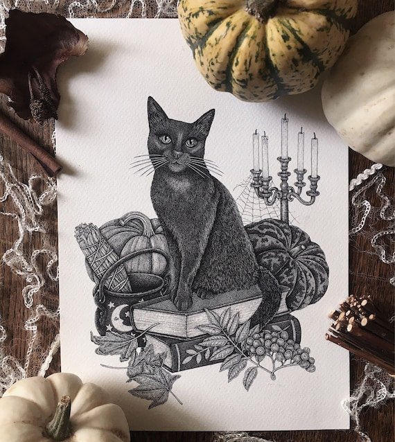 October Spells - Black cat print - Halloween - Autumn/fall print - Witchcraft - magic - lucky cat - old books - All Hallows Eve Print
