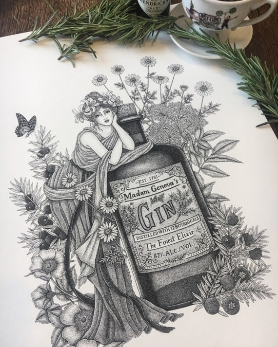 Gin Print 'Madam Geneva' - Gin Art - Cocktail Illustration - Juniper - Gin Botanicals - Vintage style Gin Print - Gift for Gin Lovers
