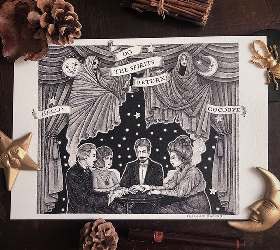 Victorian Seance - Halloween Print - A4 Print - Spooky seance illustration - Paranormal - Ouija board print - All Hallow's Eve