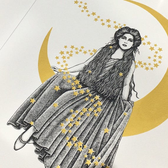 Moon Lady Gold Screenprint - 'Astarte - The Madame in the Moon' - Limited Edition Screen Print - Metallic - Moon and Stars - Silkscreen - A2
