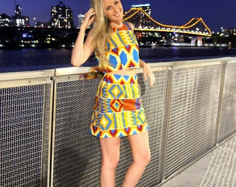 African Mini Skirt and Crop // Yellow & orange kente // Summer crop set