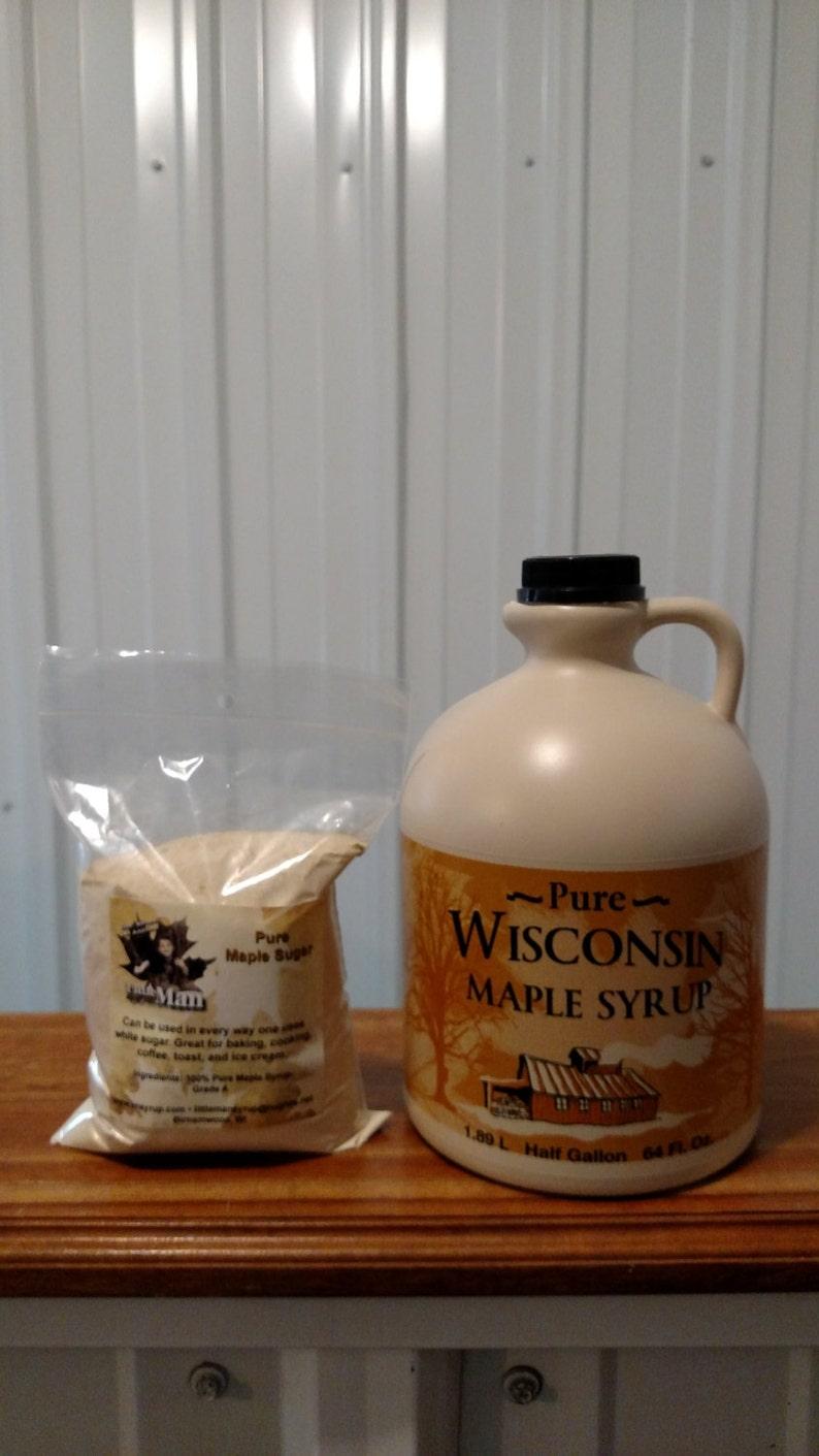 5fd72b3a497 Pure Wisconsin Maple Syrup 1 2 Gallon   1 Pound Maple Sugar