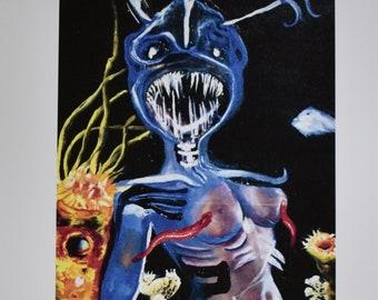 "Deep Sea Print, Fine Art Print Signed by Artist of Original Painting - 12"" x 16"""