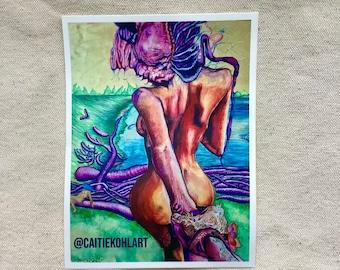 Follow Me Sticker   Caitie Kohl Art Stickers
