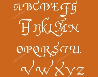 16th CENTURY CURSIVE Letter Stencils A-Z Alphabet Set. Choose Uppercase, Lowercase or Both! 1/2 to 6 Inch Sizes Available - Item Code:Et143