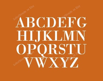 1700's EXQUISITE Letter Stencils A-Z Alphabet Set. -FREE SHIPPING- ! 1/2 to 6 Inch Sizes Available - Item Code:Et5