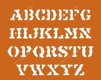 OLD WESTERN Letter Stencils A-Z Alphabet Set in Uppercase Capital Letters - 1/2 to 6 Inch Sizes Available - Item Code:Et207
